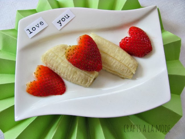 heart shaped strawberries and cut up bananas