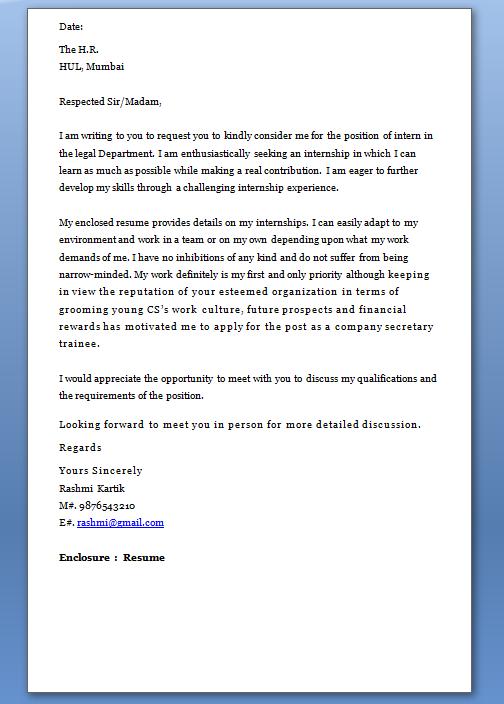 Cover Letter for Internship Sample