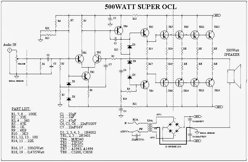 500 Watts Car Audio Amplifier Circuit Diagram