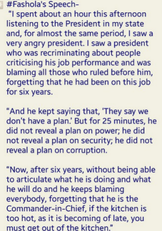Governor Fashola's thought about President Jonathan's speech at his presidential rally in Lagos