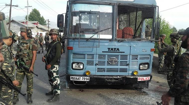 At least eight CRPF personnel were killed after suspected militants opened fire on a bus carrying the jawans in Pampore, Jammu-Kashmir. Two terrorists were also gunned down in the return fire by the paramilitary force.(Source: Express Photo by Shuaib Masoodi)