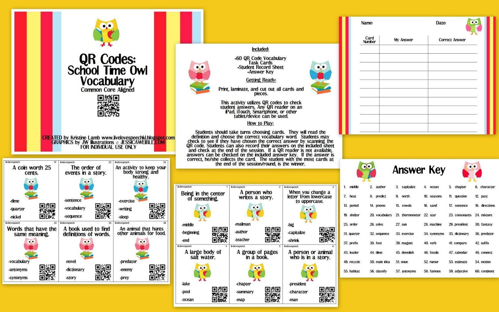 Live Love Speech Qr Codes School Time Owl Vocabulary