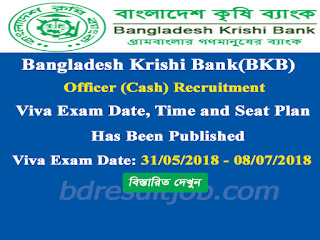 Bangladesh Krishi Bank(BKB) Officer (Cash) Recruitment Viva exam date, time and seat plan