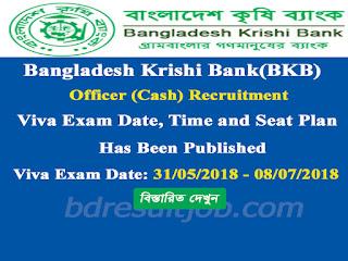 Bangladesh Krishi Bank(BKB) Officer (Cash) Recruitment Viva exam date, time and seat plan