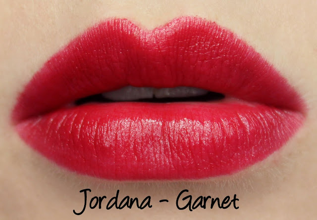 Jordana Garnet lipstick swatches & review