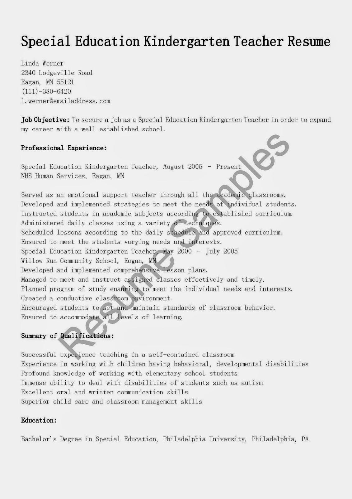 resume samples special education kindergarten teacher