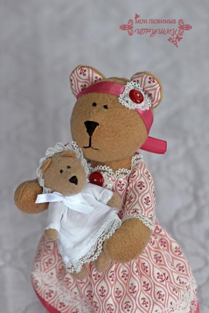 мишка, медведь, тестильная игрушка