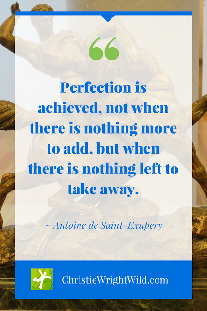 """Perfection is achieved, not when there is nothing more to add, but when there is nothing left to take away."" ~Antoine de Saint-Exupery 