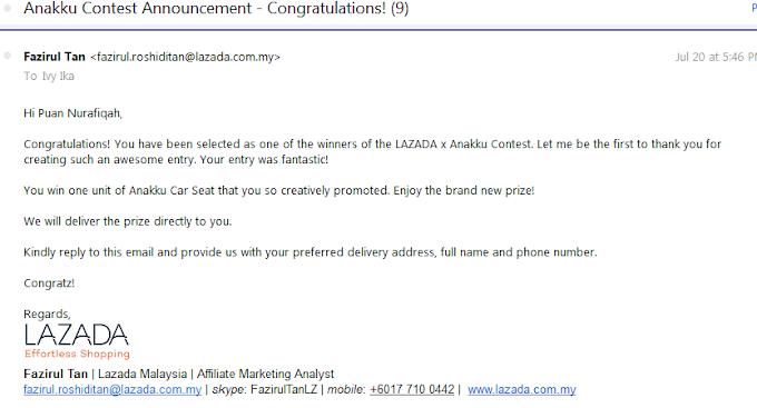 Menang Anakku Car Seat Contest Affiliate Lazada Malaysia
