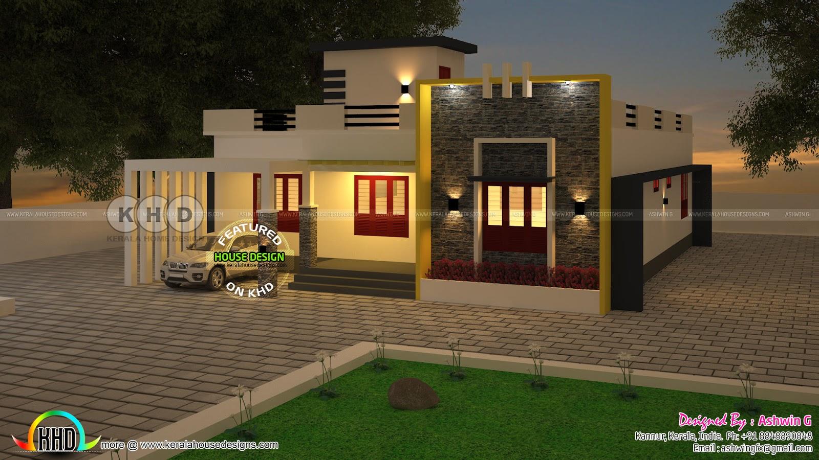 Modern Single Floor House Rendering By Ashwin G Kerala Home Design Bloglovin