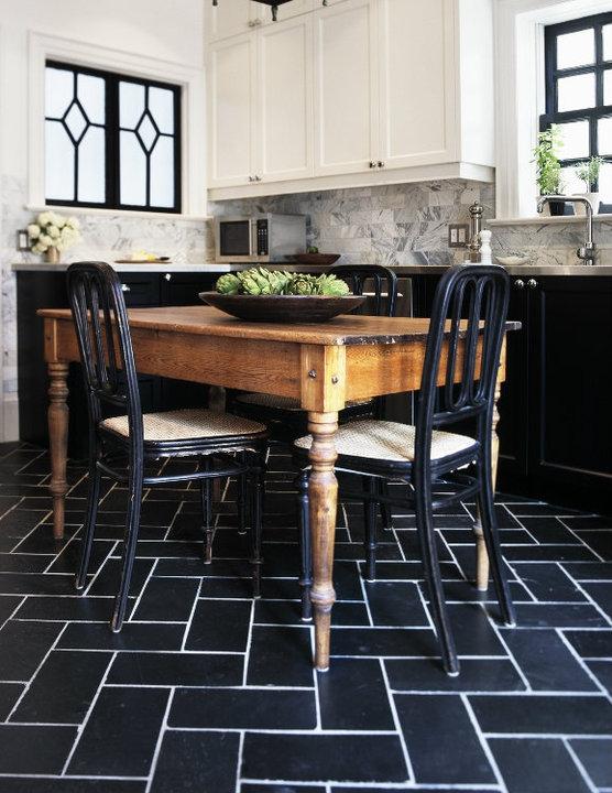 black and white tiles kitchen 2017 - Grasscloth Wallpaper