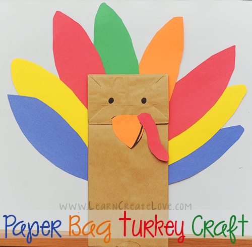 make a paper bag turkey puppet