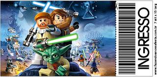 Tarjeta con forma de Ticket de Star Wars Lego.