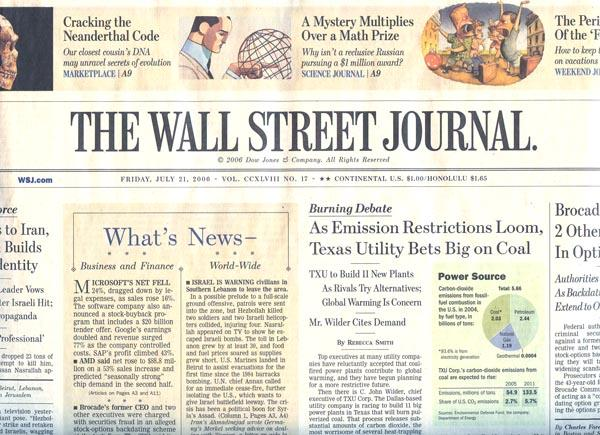 Financial services and wall street journal