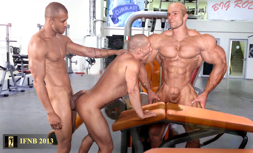 Muscle rod cums in gym