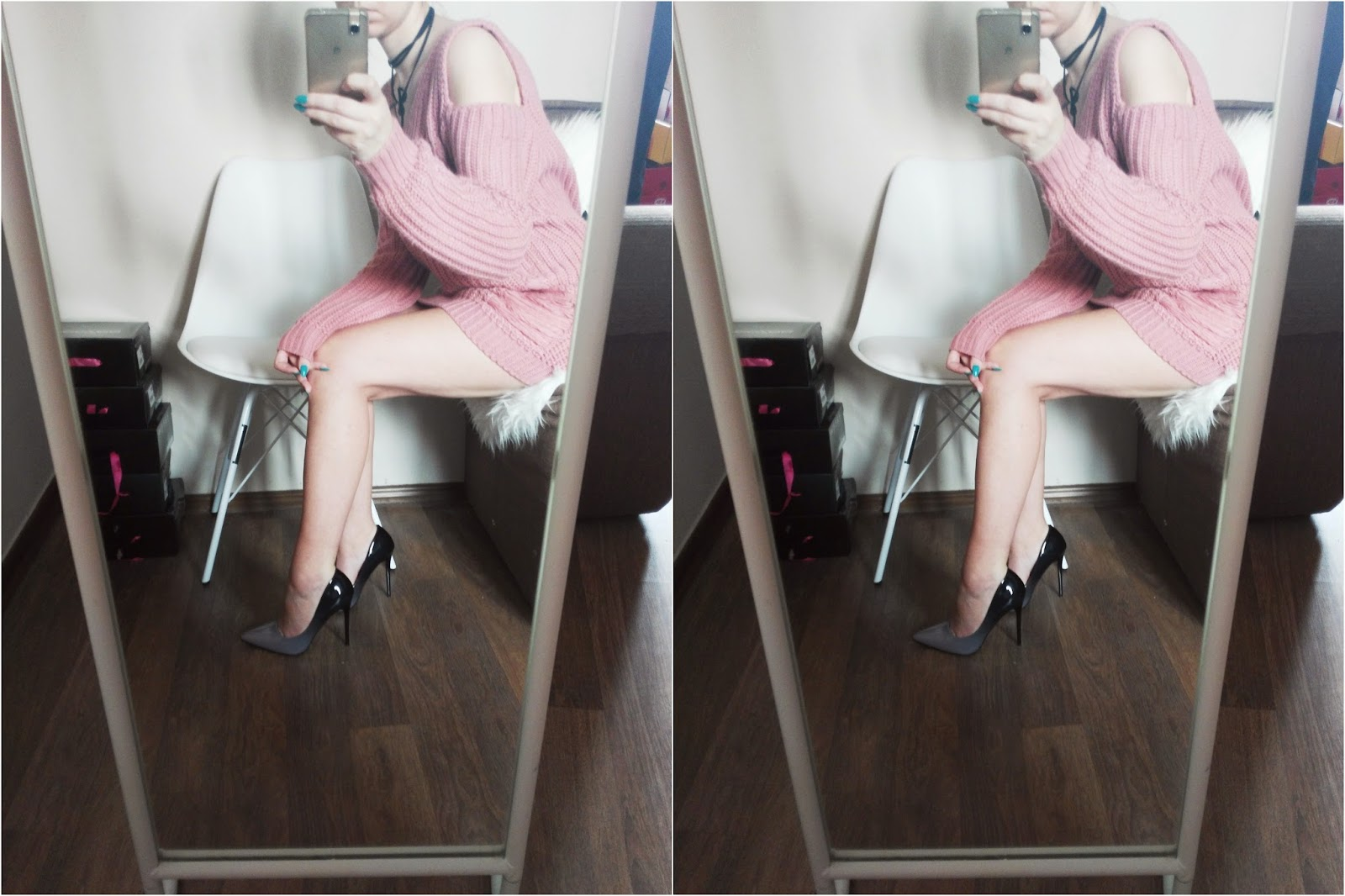 SHEIN - BOMBER JACKET //  PINK SWEATER // CONTRAST BLOUSE