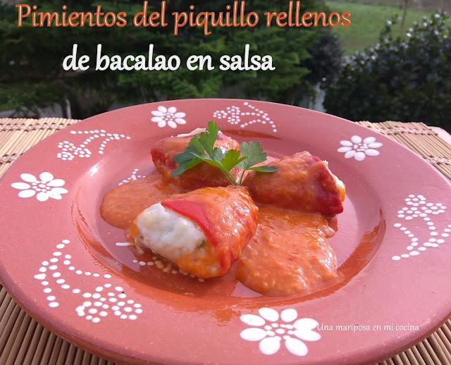 Pimientos Del Piquillo Rellenos De Bacalao Y Bechamel En Salsa