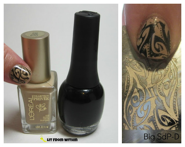 What I used:  L'Oreal Eva's Nude, with stamping using Finger Paints Black Expressionism and my Big SdP-D plate.