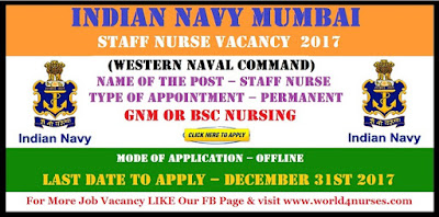 Indian Navy Mumbai (Western Naval Command) Staff Nurse Vacancy December 2017