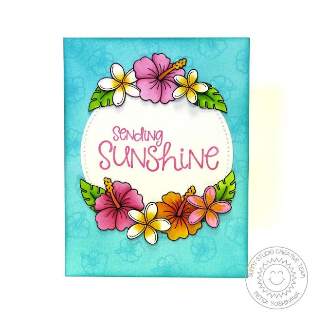 Sunny Studio: Tropical Paradise & Sunny Sentiments Hibiscus Card by Mendi Yoshikawa