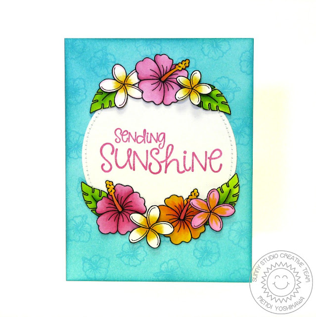 Sunny Studio Stamps Tropical Paradise and Sunny Sentiments Hibiscus Flower Card by Mendi Yoshikawa