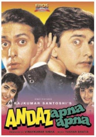 Poster of Andaz Apna Apna 1994 720p Hindi DVDRip Full Movie Download