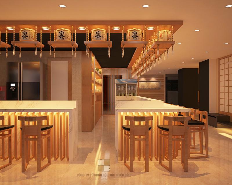 Thiết kế nhà hàng Nhật với quầy lễ tân ấn tượng