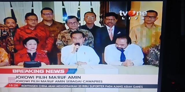 Jokowi Umumkan Cawapresnya adalah KH Maruf Amin