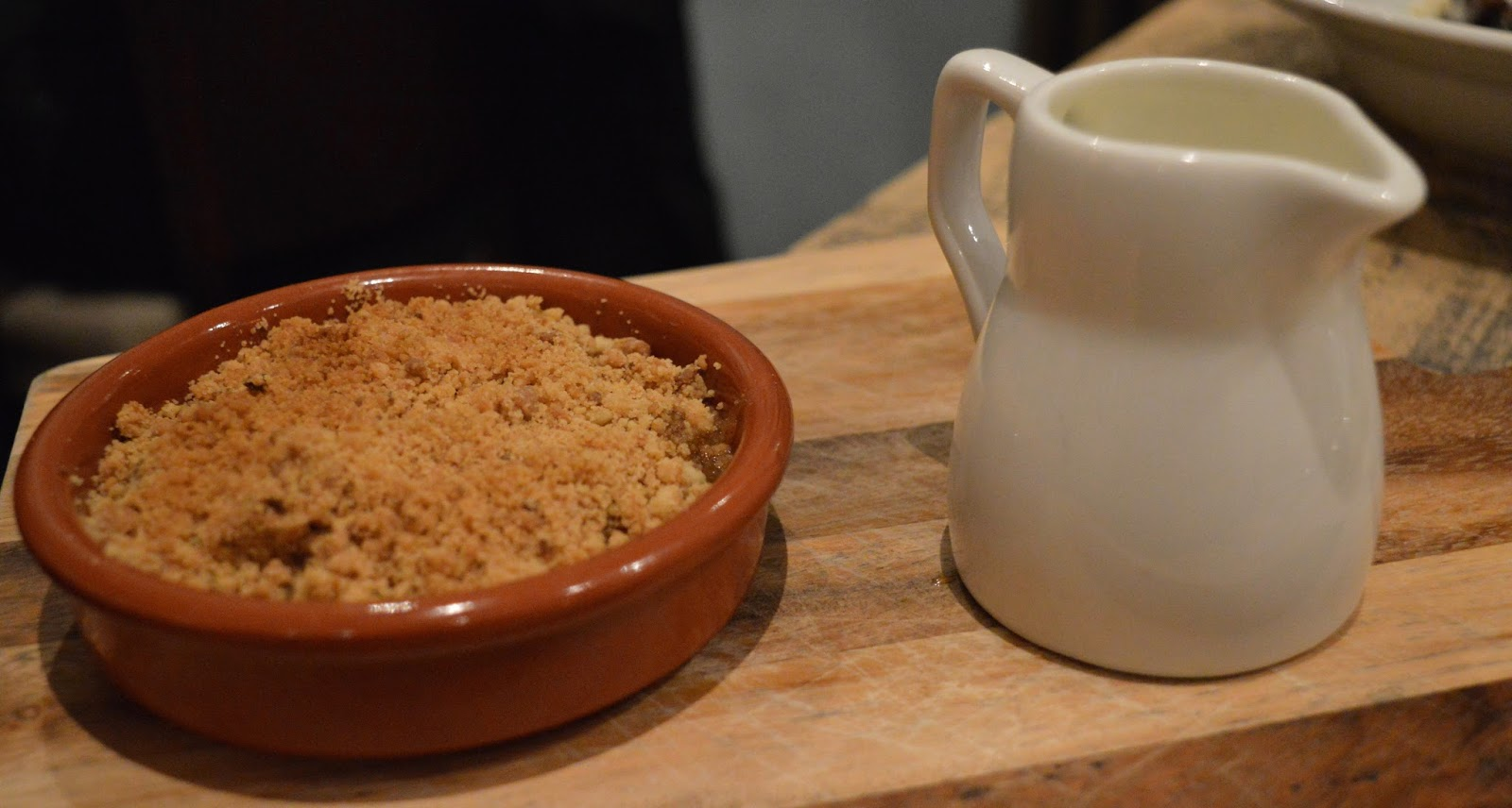 Homemade Apple Crumble and Custard from Hinnies Restaurant, Whitley Bay