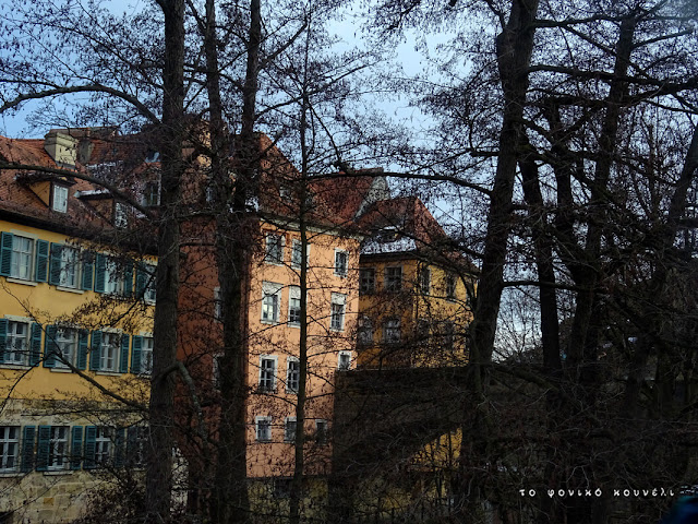 Σπίτια και δέντρα στο Μπάμπεργκ της Βαυαρίας κατά τη διάρκεια του χειμώνα / Winter trees and houses in Bamberg, Bavaria