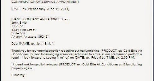 Service Appointment Confirmation Email Templates