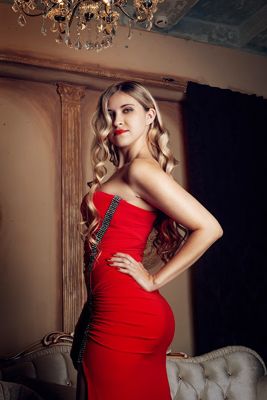 Red dress photoshoot.