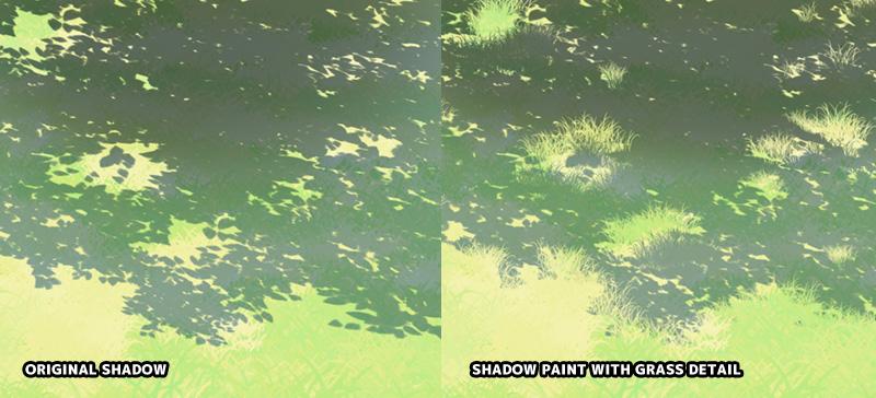 shadow on irregular surface