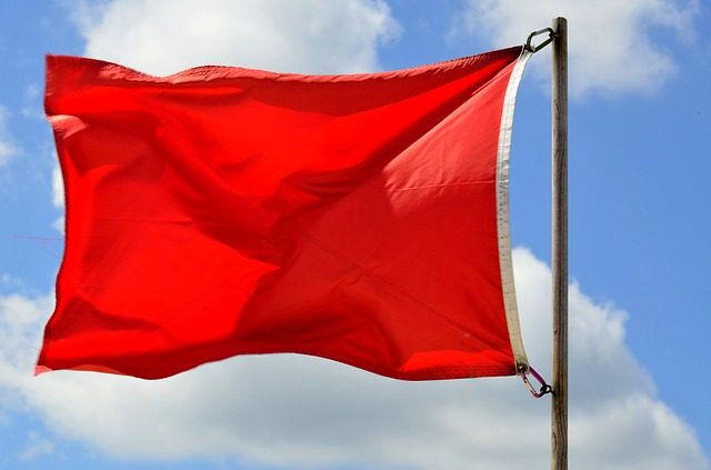 Red Warning Flag on a Beach