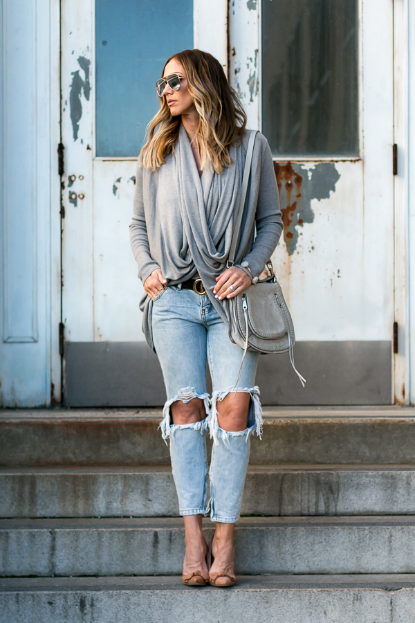 grey long wrap cardigan parlor girl