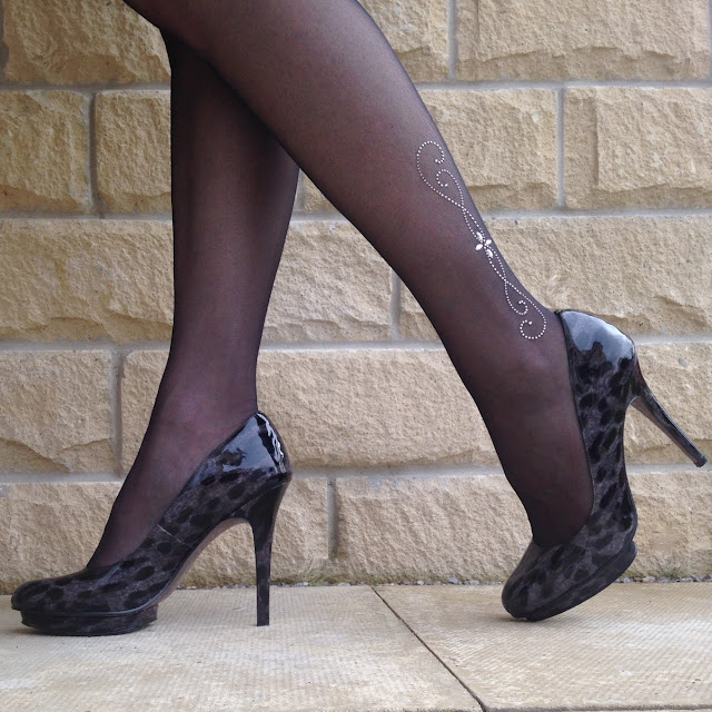 What Lizzy Loves, black trasparanze tights with diamante detail and grey leopard print shoes