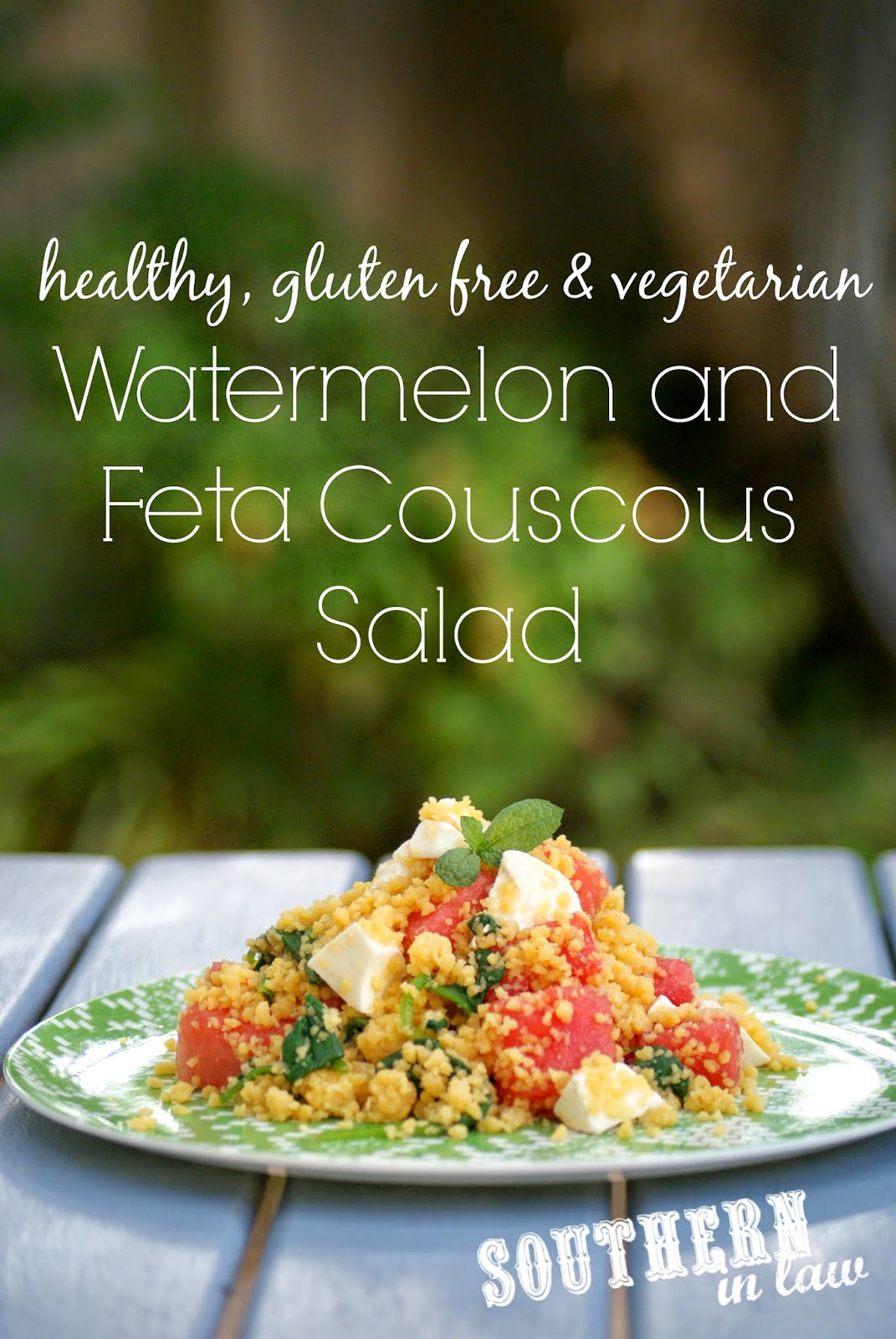 Gluten Free Watermelon and Feta Couscous Salad - Healthy, gluten free, low fat, clean eating friendly