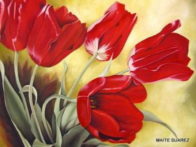 cuadro moderno de flores