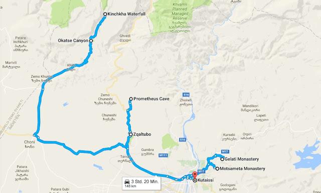 Tagesausflug ab Kutaissi - Route