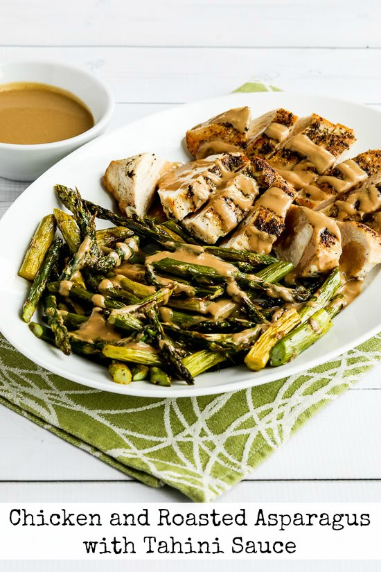 Chicken and Roasted Asparagus with Tahini Sauce found on KalynsKitchen ...