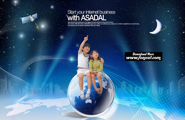 FREE PSD download : The design of a boy and girl in outer space