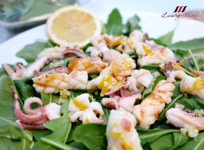 calamari salad with purelyfresh rocket leaves from italy