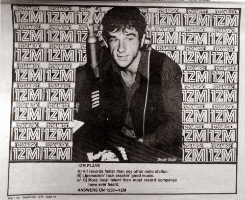 1ZM ad, dj bryan staff, Rip It Up mag sept 1978