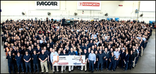 PACCAR employees of the Ste Thérèse Plant with the 200,000th Medium-Duty Truck, a Kenworth T270