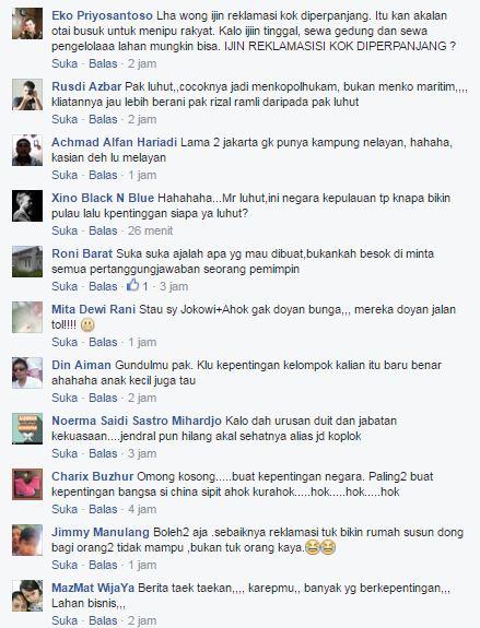 Hem .. Pemerintah Akan Tetap Lanjutkan Proyek Reklamasi Teluk Jakarta, Luhut : Ini Demi Kepentingan Rakyat ! Natizen : Rakyat Yang Mana ? Rakyat Cina ? - Commando