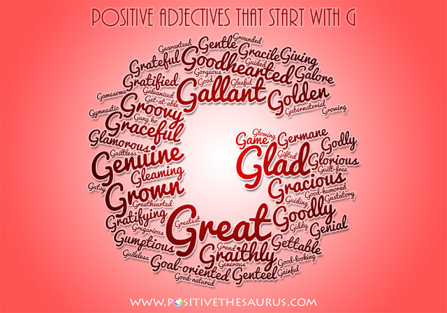 positive adjectives that start with g word cloud