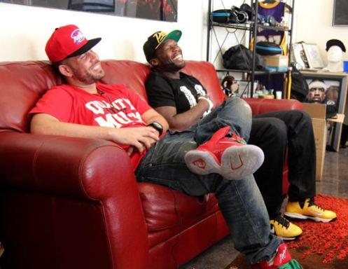 5fa34076aa83 Celeb Sneaker Game  50 Cent   Dj Drama Rockin Nike Lebron 9 Taxi ...