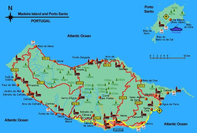 mapa Madery
