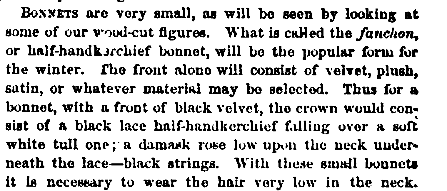 Bonnet descriptions in Peterson's Magazine, January 1865.