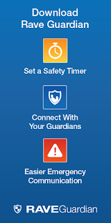 Rave poster for Guardian.  Text: Download Rave Guardian, Set a Safety Timer, Connect with Your Guardians, Easier Emergency Communication